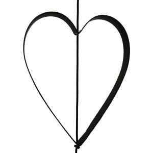 Outline Hjerte metal sort til SNOREN