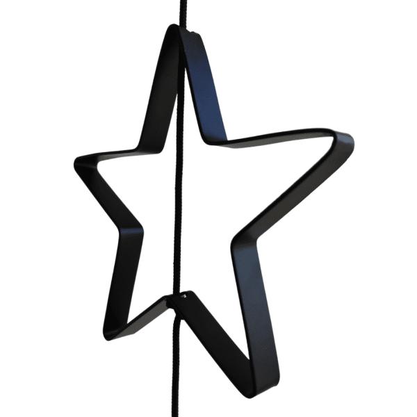 Stjerne Outline til SNOREN. Metal I sort.